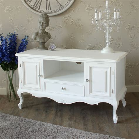 White Wood Living Room Furniture White Wood Tv Media Unit Cabinet Shabby Chic Ornate Living Room Furniture Ebay
