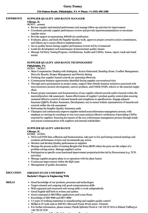 supplier quality assurance resume sles velvet