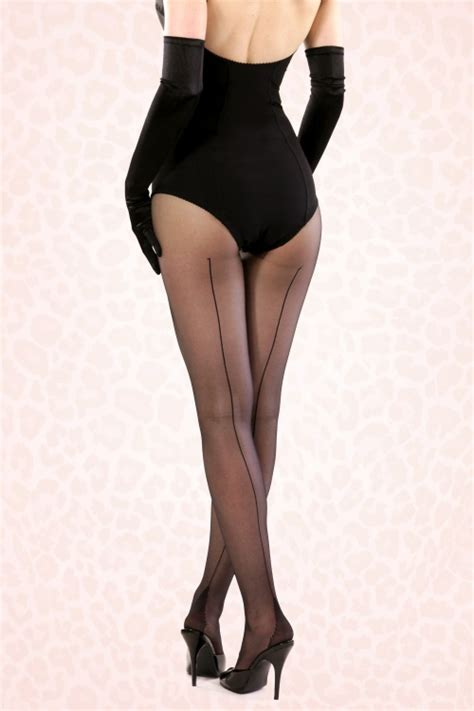 Retro Tights retro seamed tights in black
