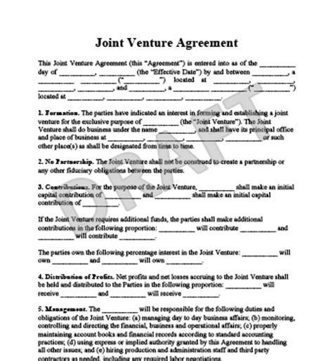 template of joint venture agreement create a joint venture agreemnent templates