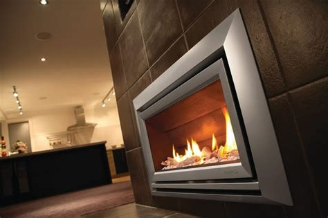 Silver Fireplace by Escea Indoor Gas Metalic Silver Fireplace Velo Front Living Room Los