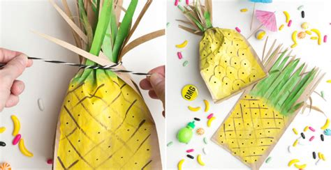 Pineapple Paper Craft - how to make pineapple favor bags diy crafts handimania