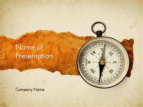 Compass On Parchment Powerpoint Template Backgrounds 11732 Poweredtemplate Com Compass Powerpoint Template