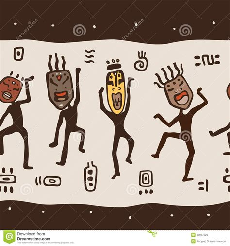 dancing figures wearing african masks stock photo image