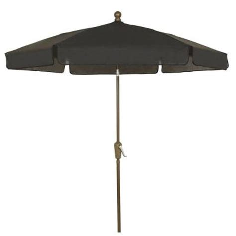 Fiberbuilt Umbrellas 7 5 Ft Patio Umbrella In Black Home Depot Patio Umbrellas
