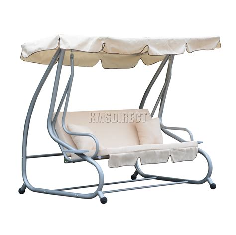 foxhunter fhsc05 garden swing hammock 3 seater chair bench