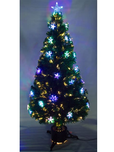 fiber optic christmas tree 5ft 5ft 6ft pre lit fibre optic tree with led baubles decoration ebay