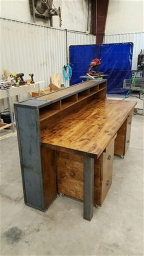 X Office Table Meja Komputer Industrial rustic industrial reception desk with two tiers frazer