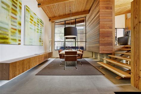 interior woodwork black window frames and interior wood feature wall