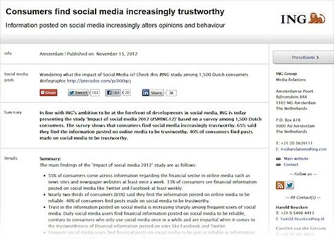 social media news release template exle of a social media press release from ing