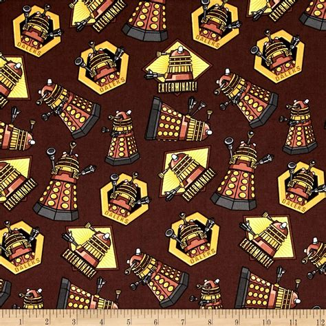 Dr Who Quilt Fabric by Doctor Who Exterminate Brown Discount Designer