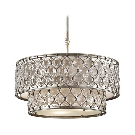 Silver Pendant Light Fixtures Drum Pendant Lights In Burnished Silver Finish F2707 6bus Destination Lighting