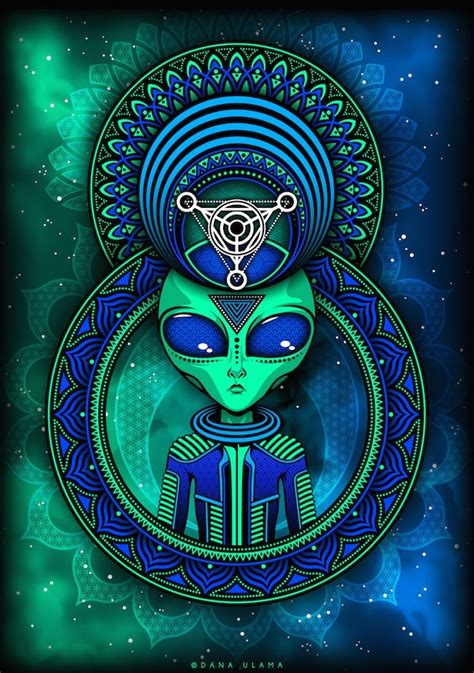 trippy alien psytrance goa psychedelic space vector