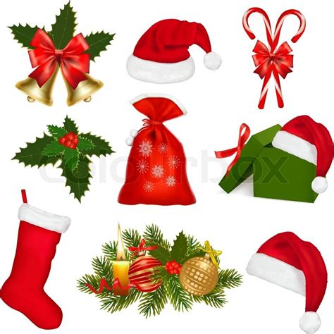 images of christmas objects set of christmas objects vector illustration stock