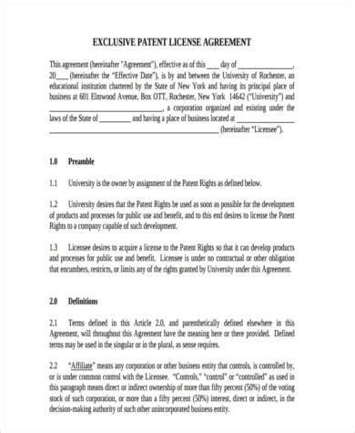 patent license agreement template 28 images invention