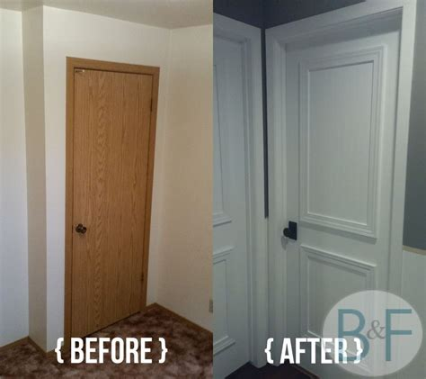 cheap bedroom door hollow core door makeover with paint trim and new knobs