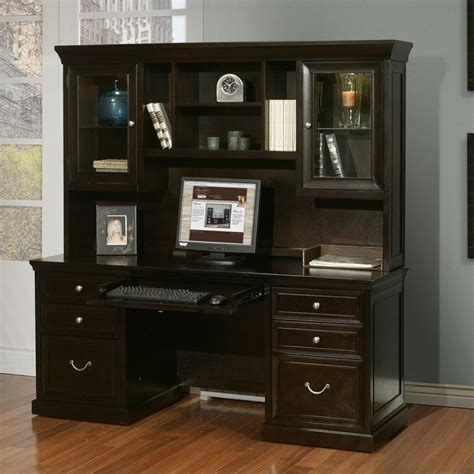 Espresso Desk With Hutch Kathy Ireland Home By Martin Fulton Credenza With Hutch In Espresso Fl689 Fl682 Pkg
