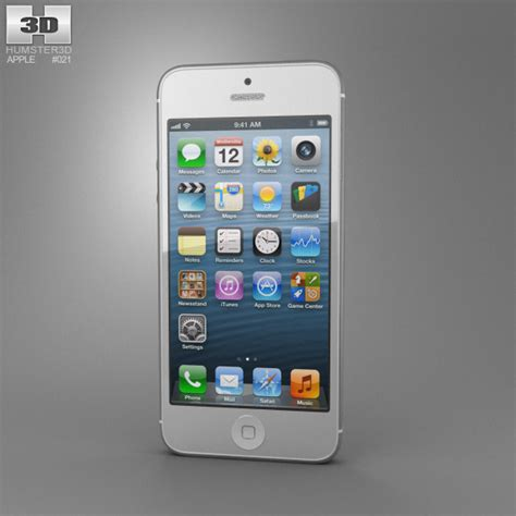 apple iphone 5 white 3d model hum3d