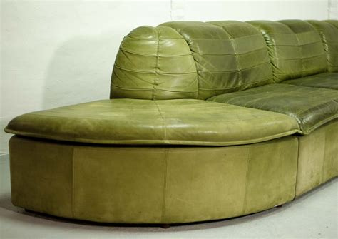 olive green leather sectional sofa mid century modular patchwork sofa by laauser in olive