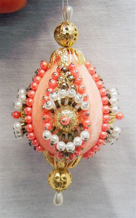 Handmade Beaded Ornaments - vintage handmade beaded styrofoam ornament pink and gold