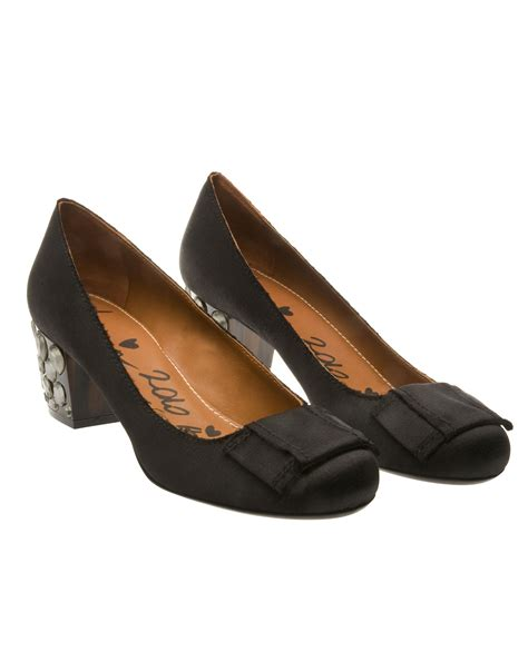 lanvin mid heel shoes with bow in black lyst