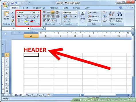 nlog layout with header and footer exle how to add a header or footer in excel 2007 6 steps