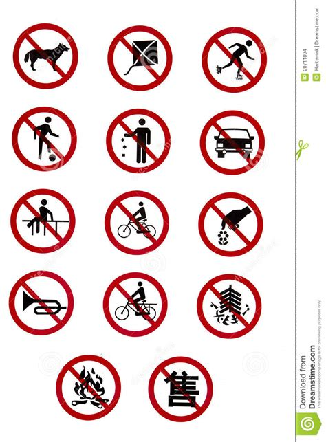 imagenes de simbolos que indiquen reglas prohibitory traffic signs rules and regulations stock