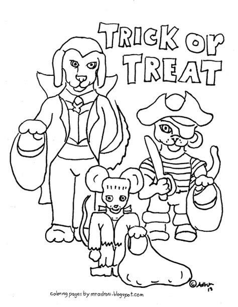 halloween animals coloring page coloring pages for kids by mr adron free trick or treat