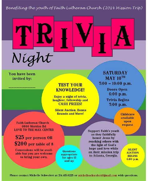 trivia poster template pin trivia flyer on