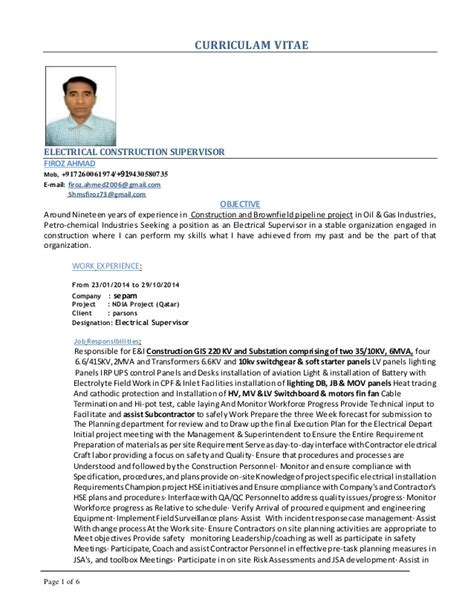 electrical construction project manager resume sle firoz electrical supervisor cv