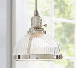 Glass Pendant Lights For Kitchen Pb Classic Pendant Ribbed Glass Industrial Pendant Lighting By Pottery Barn