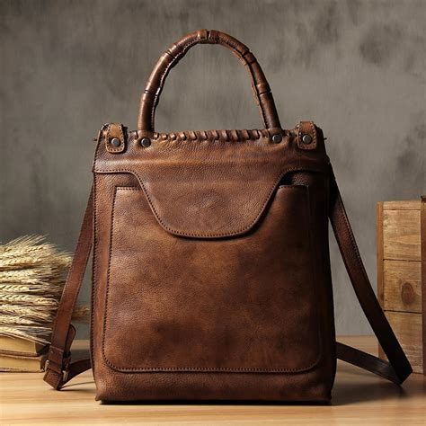 handmade vintage brown leather messenger bag handbag small