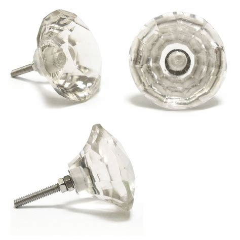 glass knobs for cupboard doors clear faceted glass cupboard door knobs by pushka home