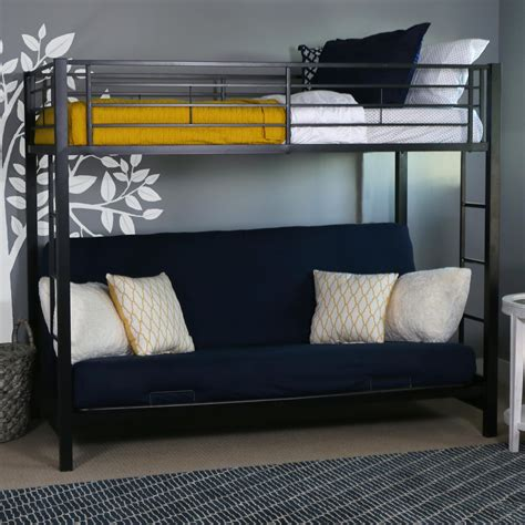 loft beds with futon amazon com walker edison twin over futon metal bunk bed