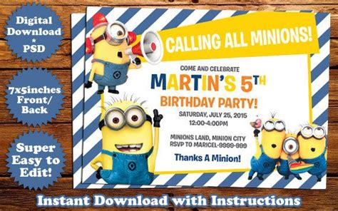 minion invitations template instant minions birthday invitation template