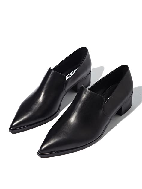 black leather loafer shoes acne studios womens jaycee leather loafer shoes in