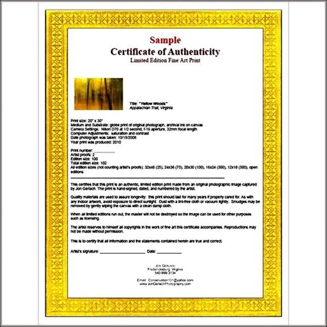 artist certificate of authenticity template sle templates