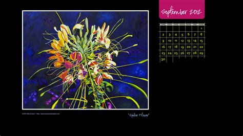 september 2012 happy life happy september enjoy this spider flower calendar