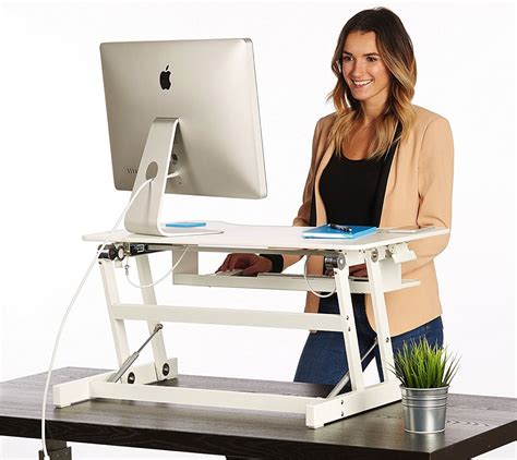 sit stand office desk white standing desk the deskriser height adjustable