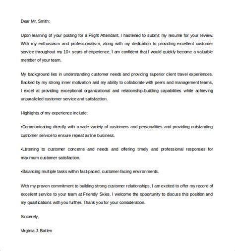 Flight Attendant Cover Letter  Sample Flight Attendant Cover Letter