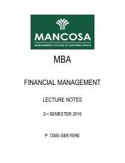 Mba Lecture Notes On International Business by Fm Notes 2016 1 Mba Financial Management Lecture Notes
