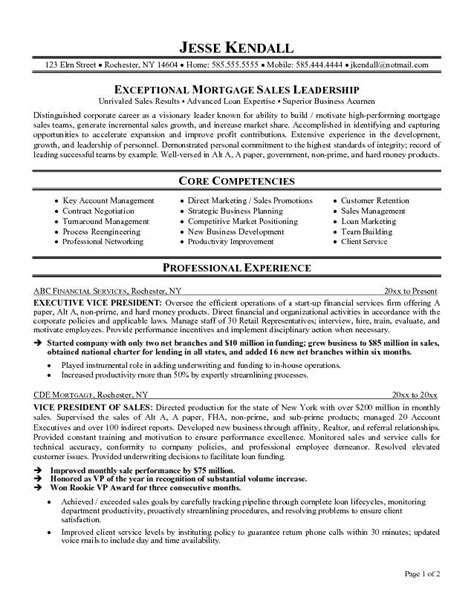 exle mortgage executive resume free sle