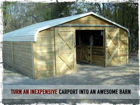 turn  inexpensive carport   awesome barn