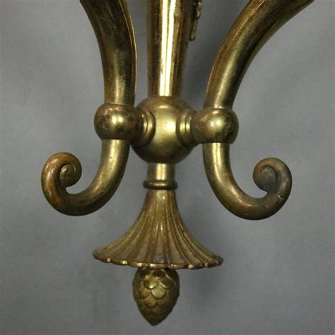 Gas Wall Sconce Pair Of Antique French Neoclassical Style Brass 3 Light