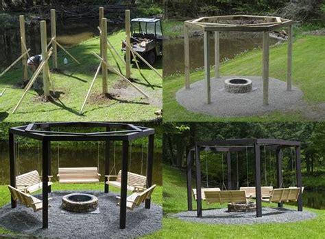 backyard diy pit diy backyard pit with swing seats icreativeideas