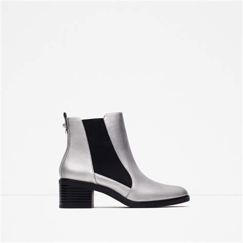zara boots zara elasticated high heel ankle boots in gray silver lyst