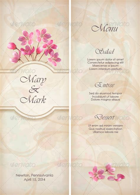 wedding menu template free 34 wedding menu templates free sle exle format