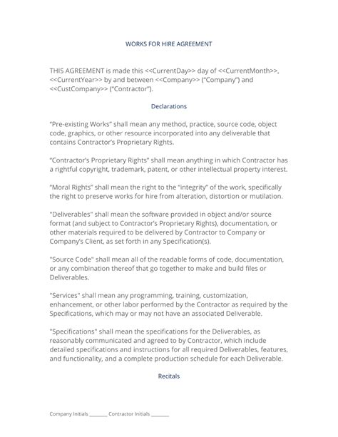 work made for hire agreement template works for hire agreement