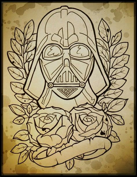 old line tattoo darth vader line school