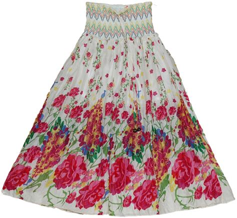 colorful maxi dress skirt with smocking clearance